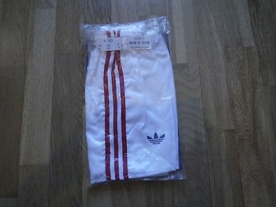 Vintage White ADIDAS 1980s Shiny Nylon Shorts Made In France 90/36 In Bag Glanz