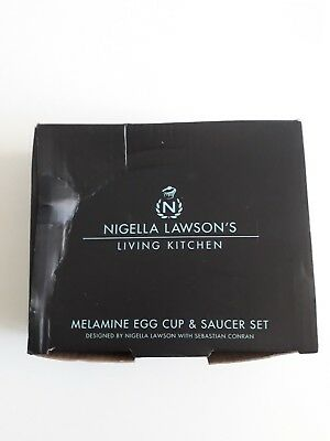 Nigella Lawson Living Kitchen Melamine Egg cup spoon and saucer Black New