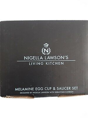 Nigella Lawson Living Kitchen Black eggcup and saucer and spoon set new