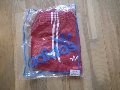 Vintage Red ADIDAS 1980s Shiny Poly Shorts Made In England 80/32 In Bag Glanz