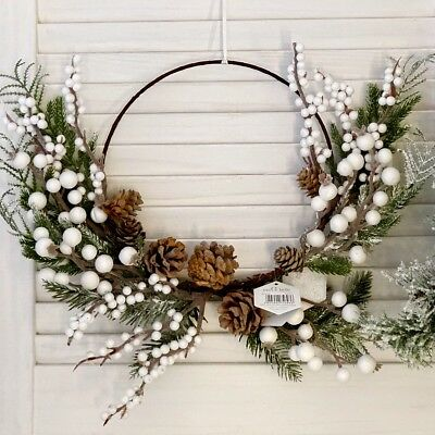 Christmas White Berry Pine Cone Rustic Hoop Wreath,Hanging Door Wall Decoration