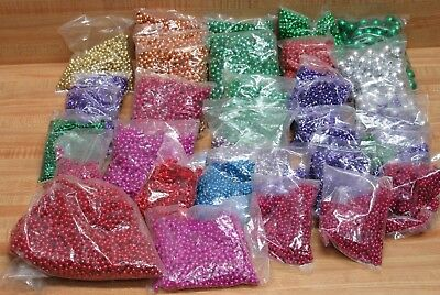 Wholesale Lot of 35 Bags Assorted Color Round Oval Metallic Beads Beading Crafts