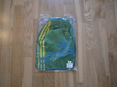Vintage Green ADIDAS 1980s Shiny Nylon Shorts Made In France 95/38 In Bag Glanz
