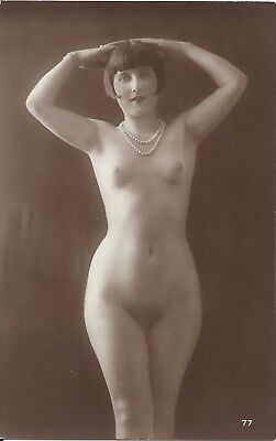 Rare original old French real photo postcard Art Deco nude study 1920s RPPC #020