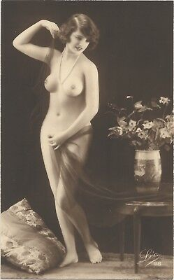 Rare original old French real photo postcard Art Deco nude study 1920s RPPC #228