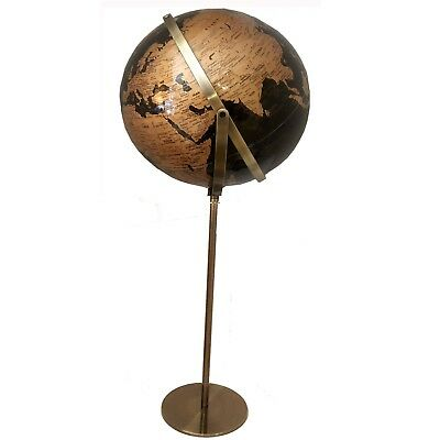 World Globe Black & Gold Raised Relief Embossed Educational Floor Standing Gift