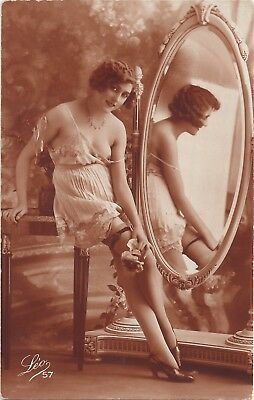 Rare original old French real photo postcard Art Deco nude study 1920s RPPC #310