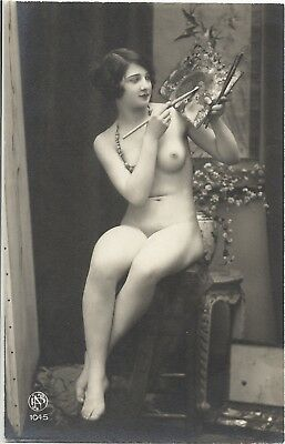 Rare original old French real photo postcard Art Deco nude study 1920s RPPC #235