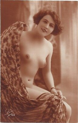 Rare original old French real photo postcard Art Deco nude study 1920s RPPC #175