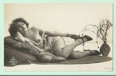 Rare original old French real photo postcard Art Deco nude study 1920s RPPC #237
