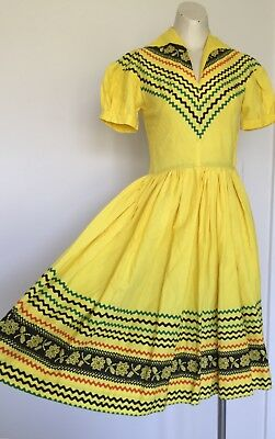 """Womens Vintage 1950s Western """"Kerry Brooke"""" Cotton Mexican Canary Dress Yellow S"""