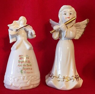 Two Ceramic Angel Figures White (1 with gold trim, 1 with Psalms 97:1 on Skirt)