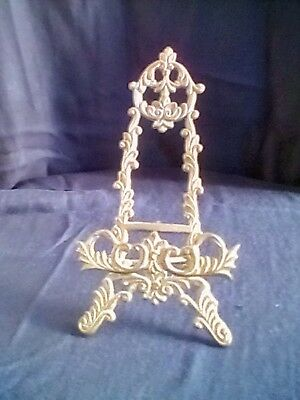"""Vintage Antique Ornate Solid Brass Picture Stand 7"""""""