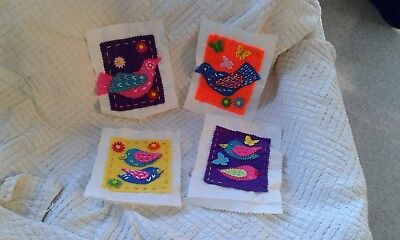 Hand embroidered quilt squares x 4 - useful to make a childs quilt possibly?