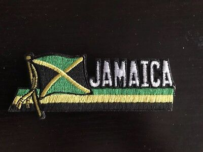 Jamaica Country Flag Iron-On/sew OnPatch Crest Badge 1.5 X 4.5 In.