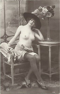 Rare original old French real photo postcard Art Deco nude study 1910s RPPC #076