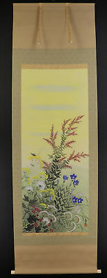"""JAPANESE HANGING SCROLL ART Painting """"Flowers""""  #E4777"""