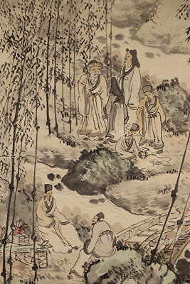 "JAPANESE HANGING SCROLL ART Painting ""Chinese wisemen"" Asian antique  #E4773"