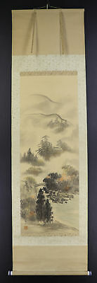 JAPANESE HANGING SCROLL ART Painting Sansui Landscape Asian antique  #E4783