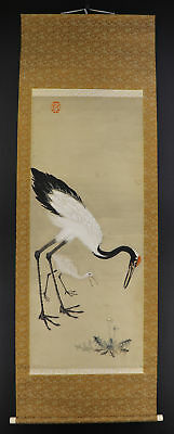 "JAPANESE HANGING SCROLL ART Painting ""Crane"" Asian antique  #E4778"