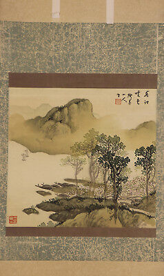 JAPANESE HANGING SCROLL ART Painting Sansui Landscape Asian antique  #E4779
