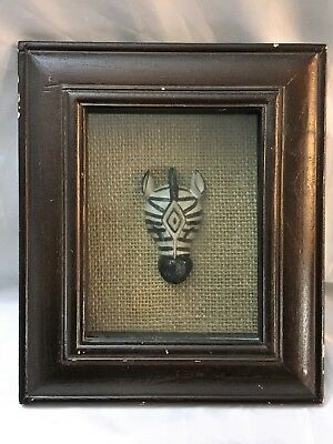 Vintage African Zebra Head Mount Glass 3D Wood Box Painting Art Tribe Hunting BF