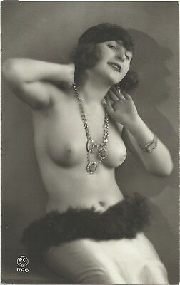 Rare original old French real photo postcard Art Deco nude study 1920s RPPC #201