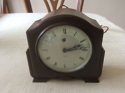 VINTAGE ART DECO 1930s SMITH SECTRIC MANTLE CLOCK,MOTTLED BROWN BAKELITE,RETRO,