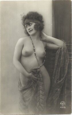 Rare original old French real photo postcard Art Deco nude study 1920s RPPC #074