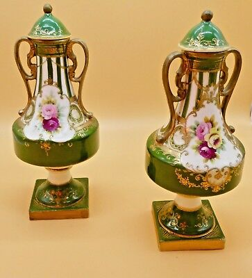Pair of Hand Painted Collectible Antique Japanese Noritake Vases   Approx 1900s