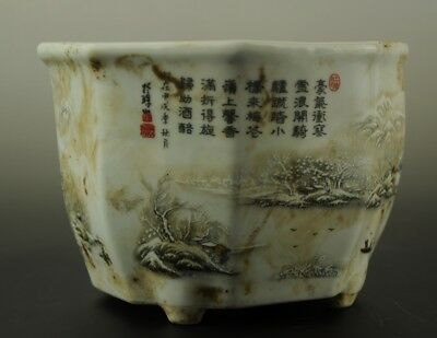 Old China Hand-made famille rose snowscape Porcelain  flowerpot c01