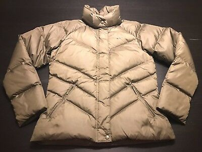Nike Women's Large Duck Down & Feather Coat Jacket BROWN Puffer Cozy L 12-14