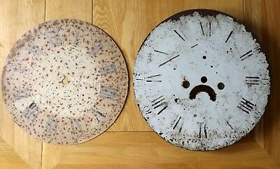 Job Lot of 2 Antique/Vintage Circular Metal Clock Dials - For Restoration
