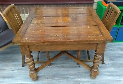 Vintage Extending Oak Barley Twist Dining Table With 4 Chairs By H Chapman & Co.