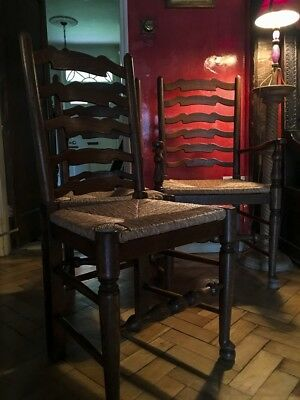 Set of Ten Sussex Ladderback Dining Room Chairs with Two Carvers
