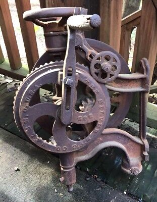 1891 Antique No. 2 503 Blacksmith Post Beam Mount Drill Press Silver Mfg. Co USA