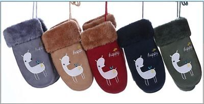 Childrens Lovely Cartoon Bear Suede Leather Mittens Winter Thick Warm Gloves