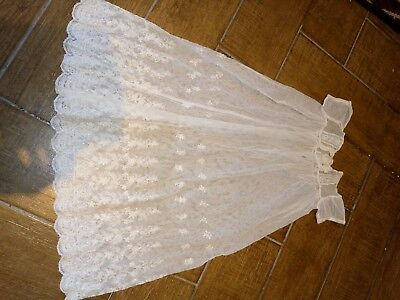 1920s 1930s Tambour Lace Christening Gown antique vintage ivory baby dress