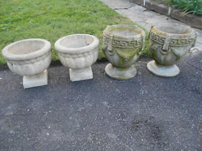 2 Pair of Figural Concrete Urn Garden Planters Cement/PICKUP ONLY!
