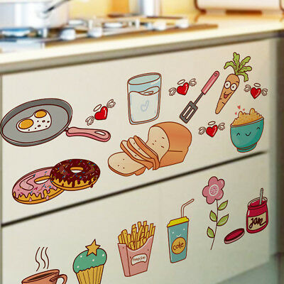 Kitchen Wall Decor Cartoon Food Stickers Cooking Mural Lovely Fruit Decals