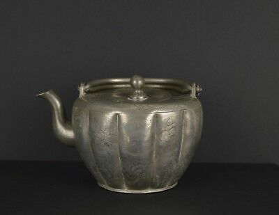 A RARE CHINESE ENGRAVED PEWTER TEAPOT WITH MARK TO BASE c1900 .