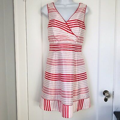 5ed22ae8cb2 Jessica Simpson White Red Striped A-line Cocktail Dress MSRP  148 Woman s  Sz 10