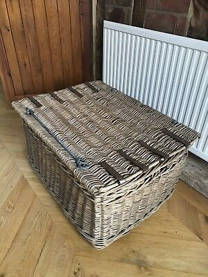 Vintage Large Wicker Trunk Basket Toy Storage Laundry Rustic