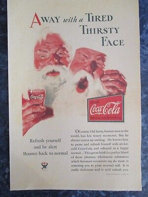 "Vintage Coca Cola 1933 Christmas  Ad Store Sign ""SANTA AWAY W THIRSTY FACE"""