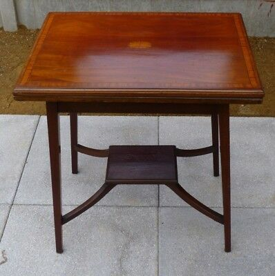 Vintage dual function side and card table with inlaid top from c1930s