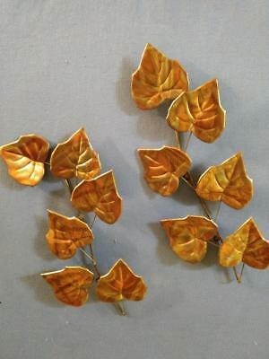 Home Interiors Vintage Copper Metal Leaf Wall Plaques - Set of Two