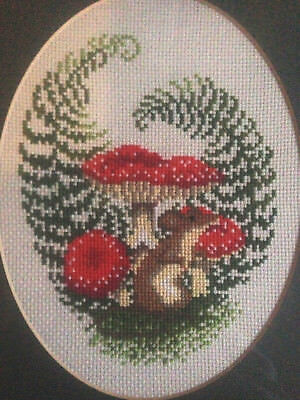 Framed Hand Embroidered Cross Stitch Picture
