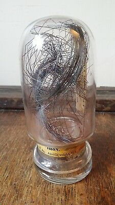 Antique Inverted Glass Apothecary Jar - Chemist / Laboratory - & Iron Contents