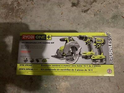 Ryobi P1837 18V ONE+ Lithium Cordless Combo Kit (3Tool) Drill/driver/saw