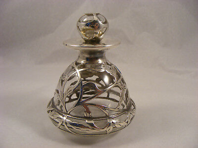 Scent bottle with 999 solid silver overlay, Alvin company or Gorham